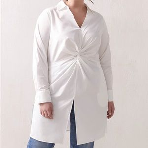 NWT AdditionElle White Twist Front Tunic Blouse